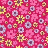 Hippie escura do rosa do teste padrão sem emenda do vetor floral ilustração stock