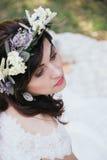 Hippie et portrait chic de jeune mariée Photos libres de droits