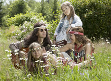 Hippie family Royalty Free Stock Photo