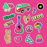 Hippie Fashion Doodle. Stickers, Badges and Patches with Hands and Colorful Elements royalty free illustration