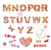 Hippie floral alphabet with funny colorful flowers. Part 2 Stock Image