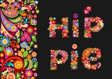 Hippie flowers colorful print for t shirt, festival poster and other design. Hippie flowers colorful print on black background for t shirt, festival poster and vector illustration