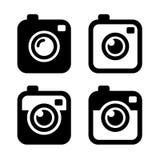 Hippie-Foto-oder Kamera-Ikonen eingestellt Vektor Stockbilder