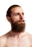 Hippie frais avec la longue barbe au-dessus du fond blanc photo libre de droits
