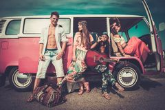 Hippie friends  on a road trip Stock Images