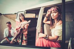Hippie friends on a road trip Stock Photography