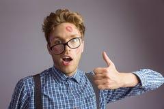 Hippie Geeky couvert dans les baisers Photo stock