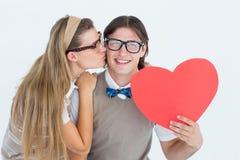 Hippie geeky de sourire et son amie Images stock