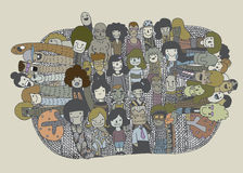 Hippie-Gekritzel-Leute-Collagen-Hintergrund Stockbild