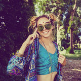 Hippie girl in the forest royalty free stock photo
