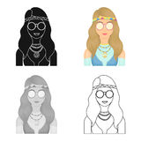 A hippie girl with glasses with beads.Hippy single icon in cartoon style vector symbol stock illustration web. Royalty Free Stock Images
