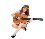 Hippie girl with the guitar Stock Photo