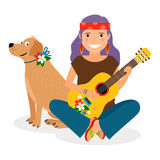 Hippie Girl with Guitar and Dog Royalty Free Stock Image