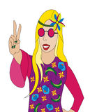 Hippie girl illustration Stock Photography