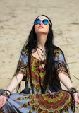 Hippie girl meditates Royalty Free Stock Photos