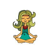 Hippie girl, meditation. Happy hippie girl, bright colored handdrawn vector. Love and peace illustration. Meditation theme royalty free illustration