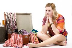 Hippie girl and Old  Suitcase Royalty Free Stock Image