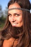Hippie girl outdoors portrait Royalty Free Stock Photos