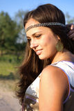 Hippie girl outdoors portrait Royalty Free Stock Photo