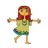Hippie girl, runs and hugs Stock Photography