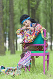 Hippie Girl Sleeping in a Forest Stock Photos