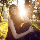 Hippie girl smiling Royalty Free Stock Image