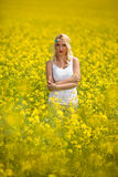 Hippie girl standing in yellow field Royalty Free Stock Image