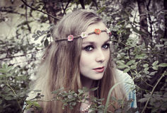 Hippie girl in the woods Royalty Free Stock Images