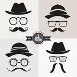 Hippie-Gläser, Hüte u. Schnurrbärte Stockbilder