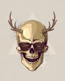 Hippie-Goldschädel mit Hörnern vektor abbildung