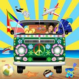 Hippie Groovy Van Traveling to the Beach for Summer Holidays Vector Illustration. Groovy Hippie Colorful Van, painted with Flowers and Peace Symbol, the `Peace stock illustration