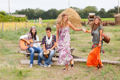 Hippie Group Outside Stock Photography