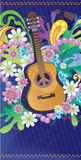 Hippie guitar. Composition with guitar, flowers and symbol of peace Royalty Free Stock Images