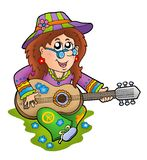 Hippie guitar player outdoor Royalty Free Stock Photos