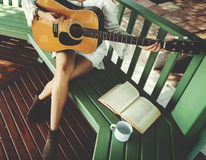 Hippie Guitar Woman Relaxation Concept Royalty Free Stock Photography