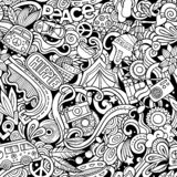 Hippie hand drawn doodles seamless pattern. Hippy background. Cartoon fabric print design. Line art vector illustration. All objects are separate stock illustration