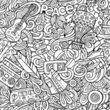 Hippie hand drawn doodles seamless pattern. Hippy background. Cartoon fabric print design. Line art vector illustration. All objects are separate royalty free illustration