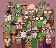 Hippie-Hand gezeichnete Gekritzelmenge von glücklichen Menschen in der Sonnenbrille Lizenzfreies Stockbild