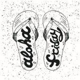 Hippie Hand gezeichneter Flip Flops mit Aufschrift vektor abbildung