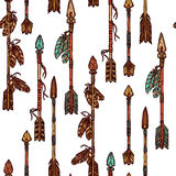 Hippie-Hand gezeichnetes Pfeil-nahtloses Muster Stockfotografie