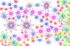 Hippie Happy Flowers. Retro colored abstract flowers on white Stock Images