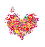 Hippie heart with abstract colorful flowers, mushrooms, peace symbol and rainbow Royalty Free Stock Images