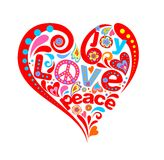 Hippie heart. Print with abstract hippie heart Royalty Free Stock Photography