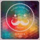 Hippie-Hintergrund gemacht von den Dreiecken. Retro- Aufkleberdesign. Quadrat Lizenzfreies Stockfoto