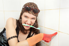Hippie housewife cleaner Stock Photos