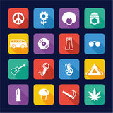 Hippie Icons Flat Design Royalty Free Stock Photos
