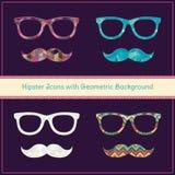 Hippie-Ikonen mit geometrischem Schmutz-Hintergrund Stockfoto