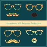 Hippie-Ikonen mit geometrischem Schmutz-Hintergrund Stockfotografie