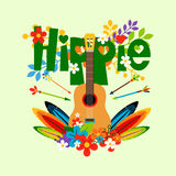 Hippie illustration with guitar and flowers Royalty Free Stock Photos