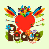 Hippie illustration with heart Stock Photography